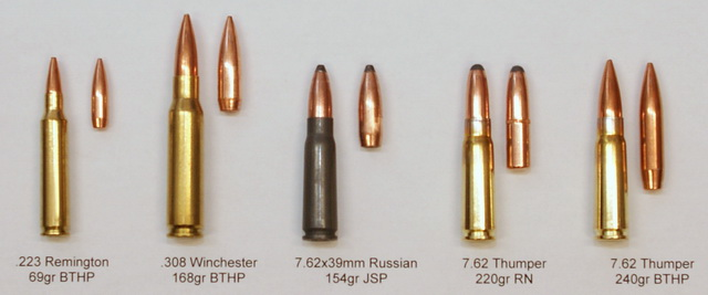 Bullet comparisons - 69gr .223 Remington, 168gr .308 Winchester, 154gr 7.62x39mm, 220gr 7.62 Thumper, 240gr 7.62 Thumper