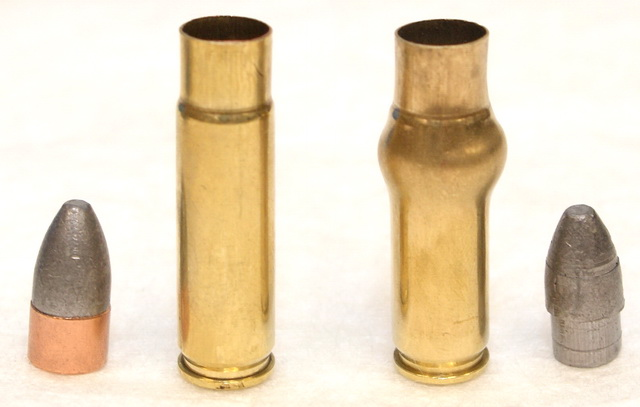 Integral .300BLK case and bullet on the left; hand-fired case and bullet missing gas check on right