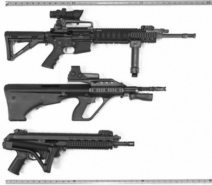 AR-15, AUG, and XCR SBR length comparison