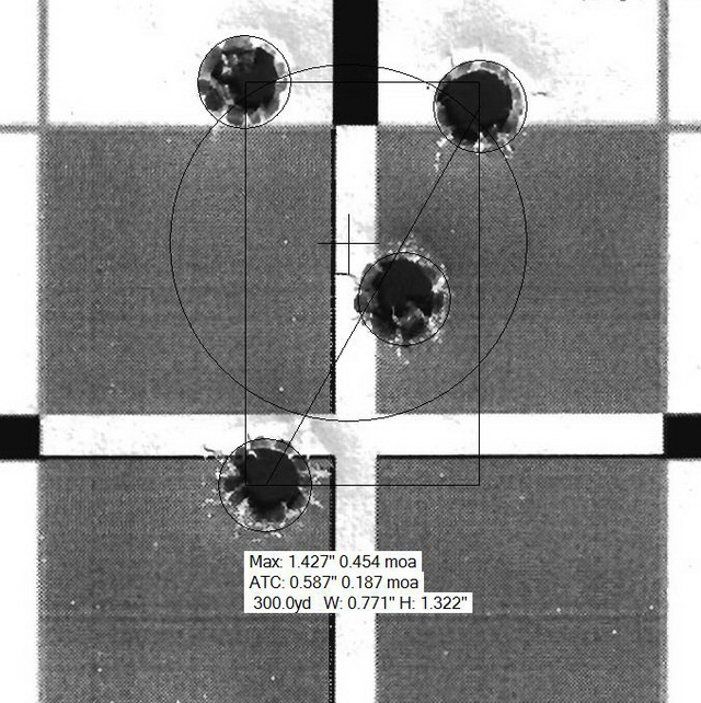OBR 4-round group at 300 yards: 1/2 MOA