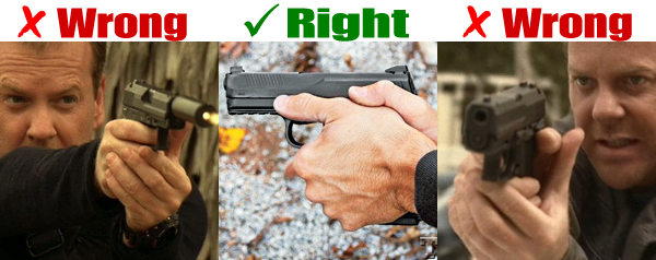 One right and two wrong ways to grip a handgun